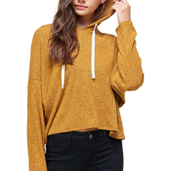 BRUSHED TWO TONE SWEATER RIB HOODED TOP - Allccess