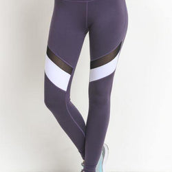 Colorblock Mesh Full Leggings - Dark Violet - Allccess