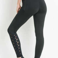 Highwaist Hybrid Mesh & Lattice Straps Full Pocket Leggings - Allccess