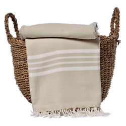 Sand Nautical Stripe Turkish Throw - Allccess