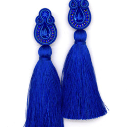 Long tassel earrings in royal blue color - Allccess