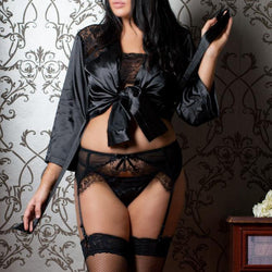 Plus Size Set with Garters & Matching Thong XL/2XL,3XL/4XL,5XL/6XL - Allccess