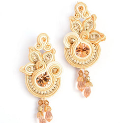 Floral drop earrings in beige colour - Allccess