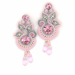 Floral Drop Earrings in rose colour - Allccess