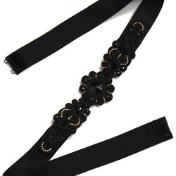 Black Embellished belt with Swarovski stones - Allccess