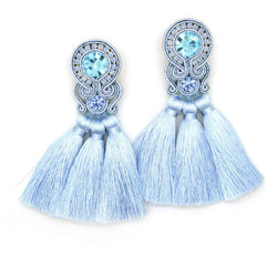 Fringe tassel earrings with crystals in blue color - Allccess