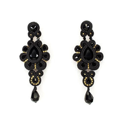 Drop earrings with Swarovski stones in black - Allccess