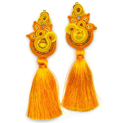 Embroidered floral tassel earrings in yellow color. - Allccess