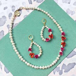 Rose Pearl Earrings + Necklace - Allccess