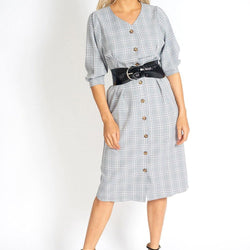 Too Cute for Office Modest Plaid Dress - Allccess