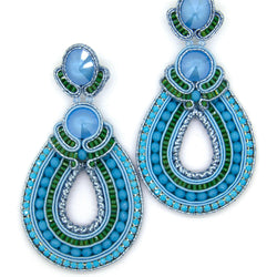 Hoop Teardrop Beaded Earrings in Blue Color - Allccess