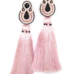 Long tassel earrings  in rose and black colors - Allccess