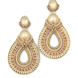 Massive hoop beaded earrings in beige color - Allccess