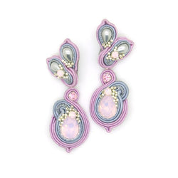 Floral earrings with Swarovski stones in lilac - Allccess