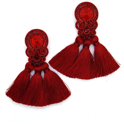 Fringe tassel earrings with crystals in red color - Allccess