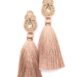 Long tassel earrings with crystals in nude color. - Allccess