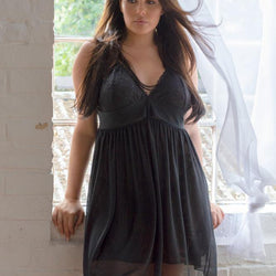 Black Lace & Mesh Nightwear XL/2XL, 3XL/4XL, 5XL/6XL, 7XL/8XL - Allccess