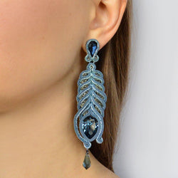 Long evening earrings with Swarovski stones Feathers - Allccess