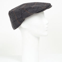 CHECKED CHARCOAL WOOL BLEND FLAT CAP - Allccess