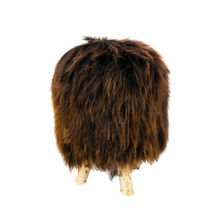 Birch wood & Brown Sheepskin Ottoman - Allccess