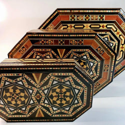Set of 3 Vintage Syrian Mosaic Boxes - Allccess
