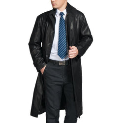 Mens Top Quality Parka Full Length Leather Coat - Allccess