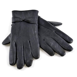 Ladies Sheepskin Leather Gloves with Bow - Allccess