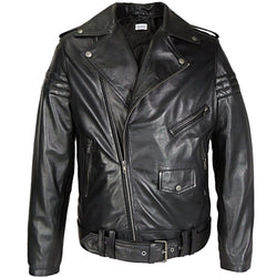 Mens Gavin Moto Assymetric Leather Jacket - Allccess