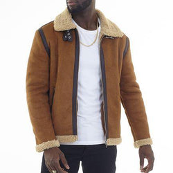 Faux Suede Aviator Jacket - Allccess