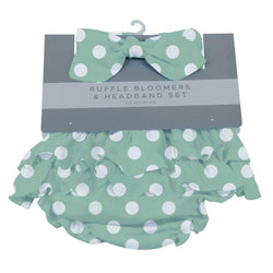 Jade Polka Dot Ruffle Bloomers and Headband Set - Allccess