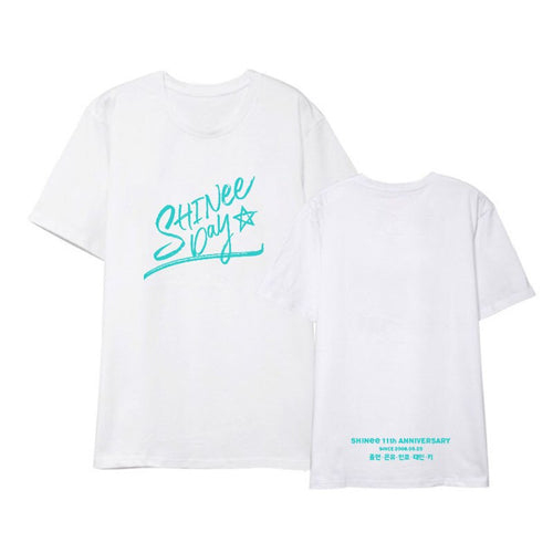 New kpop shinee day Debut 11years commemorate printing Short sleeve t-shirt kpop Harajuku T shirt Casual Tops Street Clothing