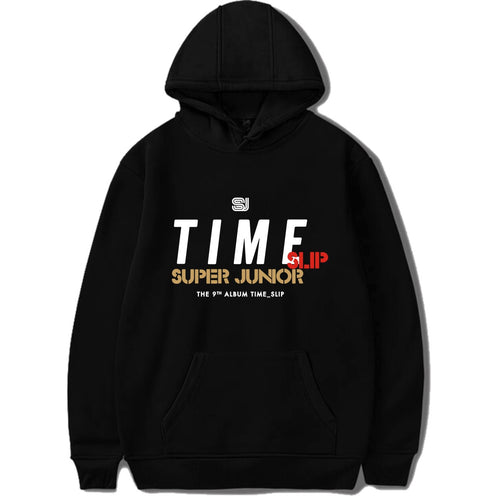 New kpop super junior album Time Slip same printing pullover hoodies men and women k-pop Warm loose sweatshirt korean hoodies
