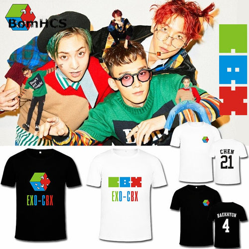 BomHCS Kpop EXO-CBX Album Hey Mama Fans Support t shirt Boy's Girl's Summer Cotton Short Sleeve Tee Tops Gift 18F-520EXO18