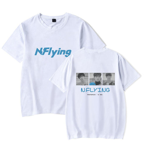 N.Flying T-shirt 2019 Vogue Letter Print O Neck T Shirts For Women Kpop Harajuku Short Sleeve Cotton Women White Tee Tops Femme