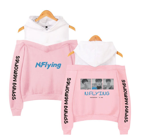 N.Flying Hoodie Autumn Harajuku Kawaii Off Shoulder Women Hoodies Sweatshirt Kpop Loose Casual Printed Hoody Ladies Sweatshirts