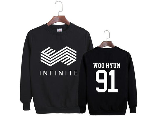 2017 new arrival kpop infinite member name printing o neck pullover hoodie  unisex thin sweatshirt for infinite fans