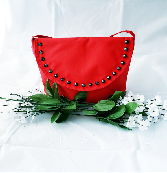 Lola Cross-Body: Red + Black Rivets