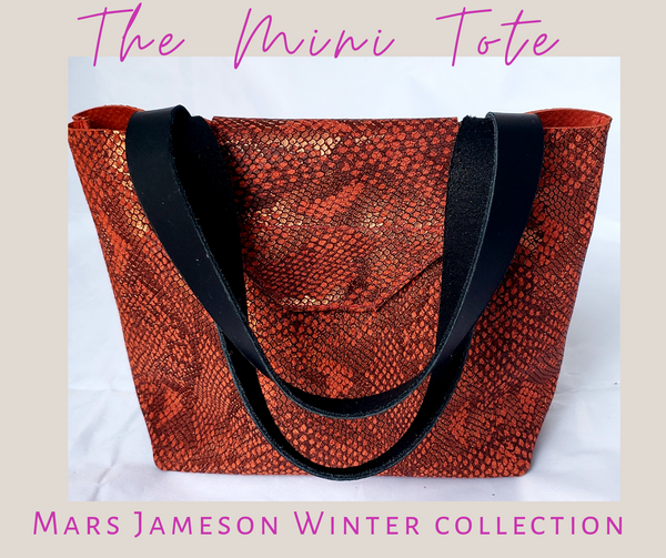 Red Snake Print Mini Tote