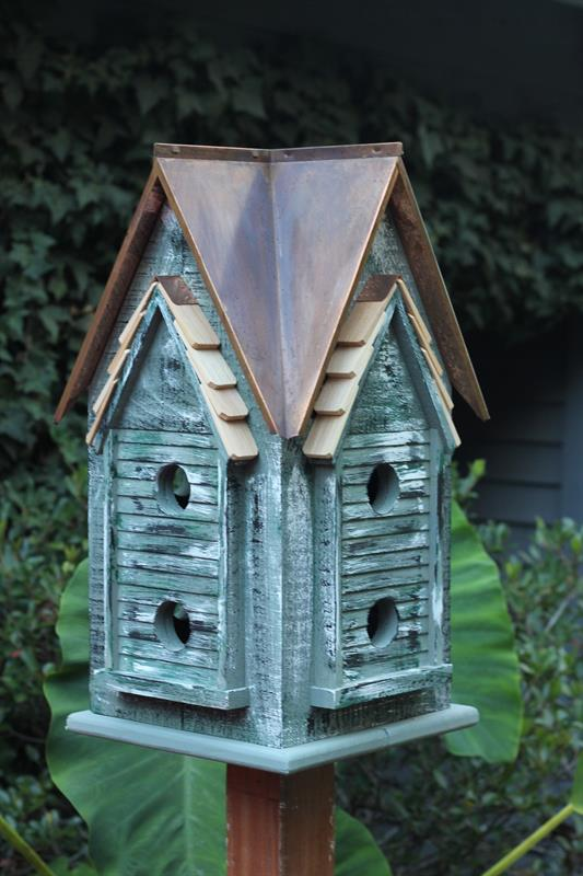 007C Copper Mansion Bird House - Green - Brown Copper Roof