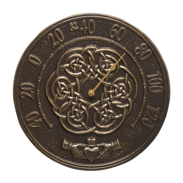 01595 Irish Blessings 12 Inch Indoor Outdoor Wall Thermometer - French Bronze