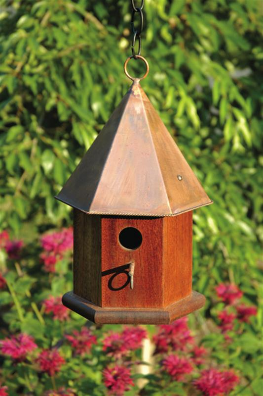 015C Copper Songbird Bird House - Solid Mahogany - Shiny Copper Roof