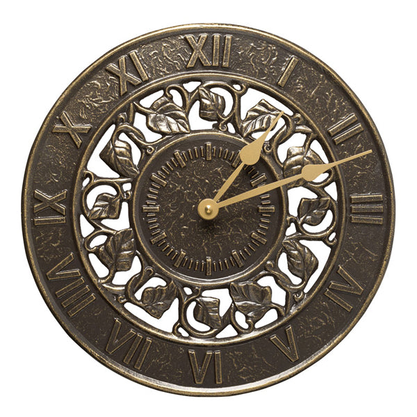 01834 Ivy 12 Inch Indoor Outdoor Wall Clock - French Bronze