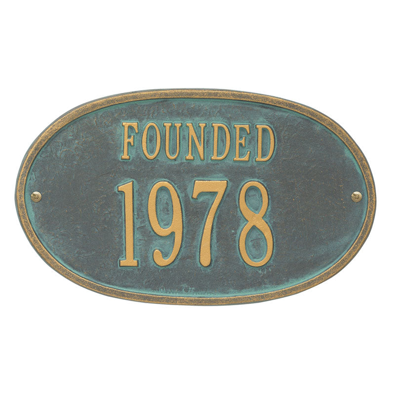 1032 Founded Date Standard Wall Address Plaque - 2 Line