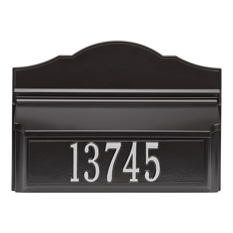 Whitehall Wall Colonial Mailbox-Black-Silver with Numbers