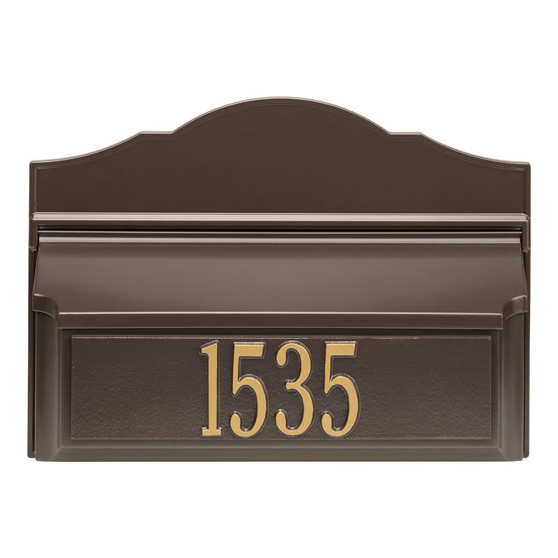Whitehall Wall Colonial Mailbox-Bronze with Numbers