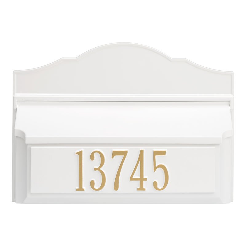 Whitehall Wall Colonial Mailbox-White-Gold with Numbers