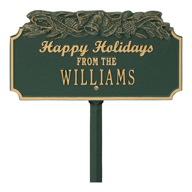 1165GG Happy Holidays Bells Personalized Lawn Plaque - Green/Gold