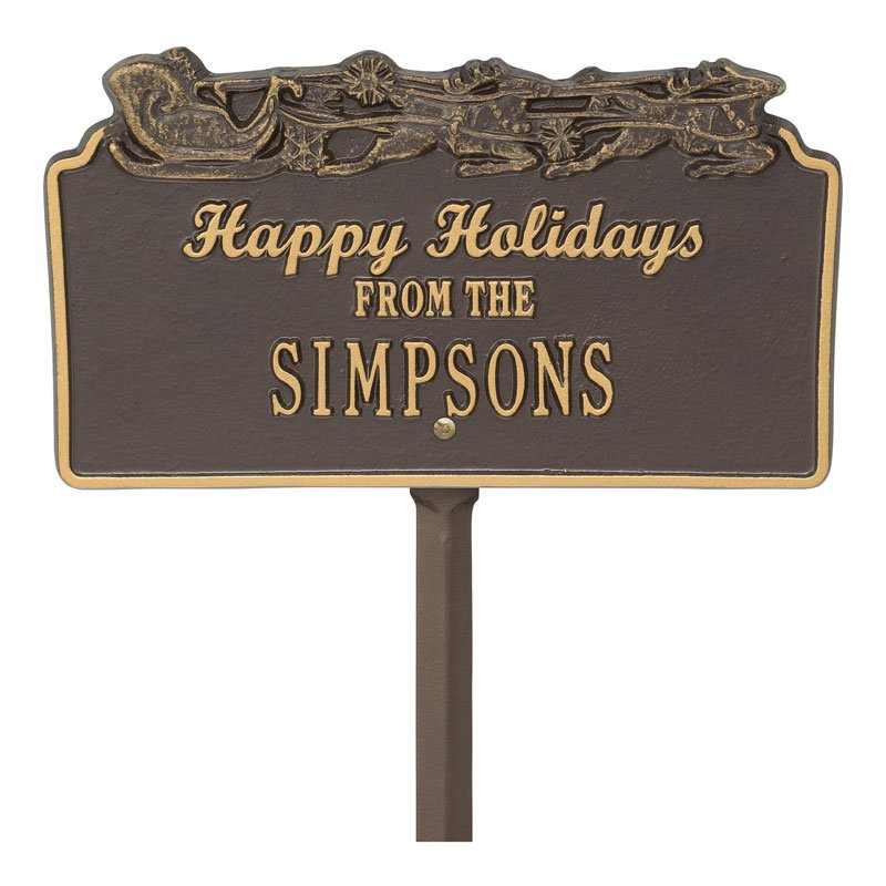 1167OG Happy Holidays Sleigh Personalized Lawn Plaque - Bronze/Gold