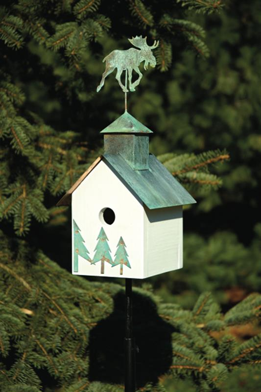 142A Sleepy Hollow - Moose Bird House - White - Verdi Copper Roof