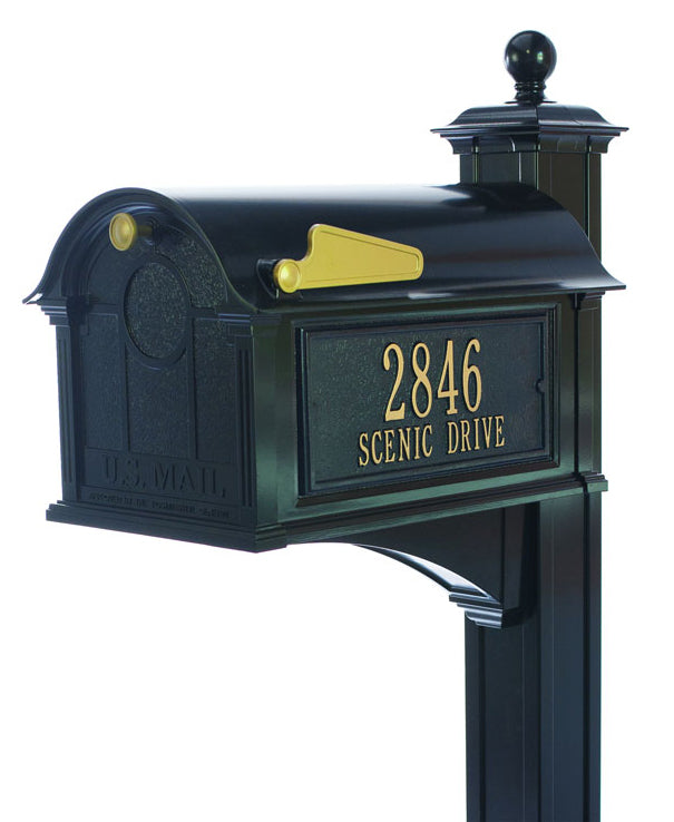 16252 Balmoral Mailbox with Side Plaques and Post Package